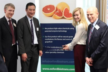 From Left: Dr. Jason King, CEO Oxford Biotrans, Prof. Luet Lok Wong of University of Oxford, Nicola Blackwood, MP and Dr. Will Barton, OBE, Chairman of Oxford Biotrans